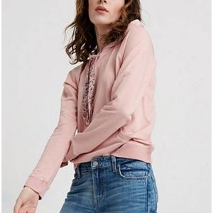 LUCKY BRAND Distressed Pink Hoodie